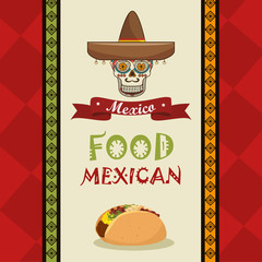 poster food and skull mexican design vector illustration eps 10