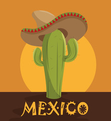 icon cactus hat mexican design vector illustration eps 10
