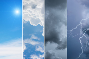 Fototapeta Weather forecast concept background - variety weather conditions