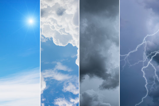 Weather forecast concept background - variety weather conditions