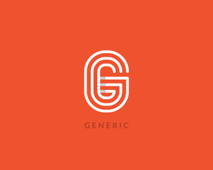"""Letter """"G"""" logo monogram. Creative line art design. Eps10 Vector line logotype."""