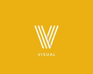 """Letter """"V"""" logo monogram. Creative line art design. Eps10 Vector line logotype."""