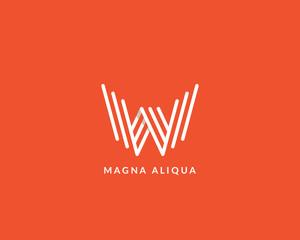 """Letter """"W"""" logo monogram. Creative line art design. Eps10 Vector line logotype."""