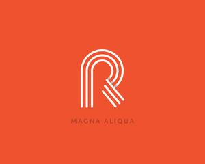 """Letter """"R"""" logo monogram. Creative line art design. Eps10 Vector line logotype."""