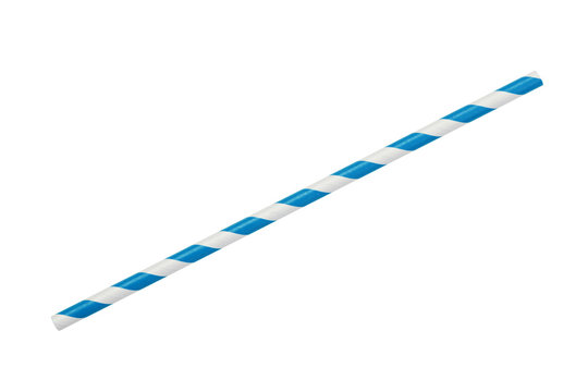 blue striped eco paper straw isolated on white