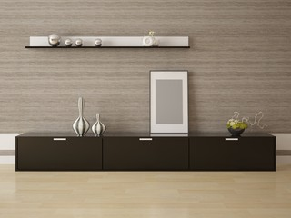 Empty frame and stylish stand on the background of wood in a modern living room.