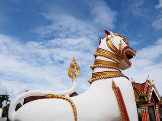 Singha at Chedi Buddhakhaya location at .Sagklaburi ,KANCHANABURI