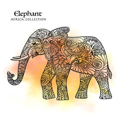 Decorative patterned elephant