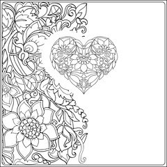 Hand drawn floral decorative love Heart on floral pattern background.  Adult coloring book.