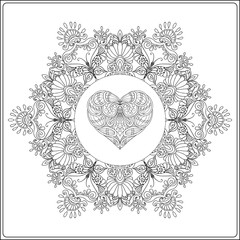 Hand drawn floral mandala with butterflies and decorative Love Heart. Adult coloring book.