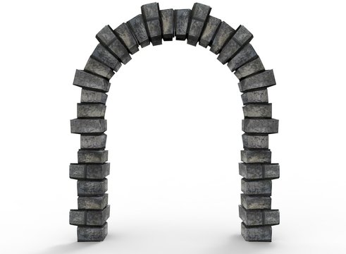 3d illustration of old arch way. white background isolated. icon for game web.