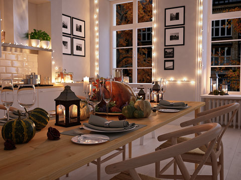nordic kitchen in an apartment. 3D rendering. thanksgiving concept.