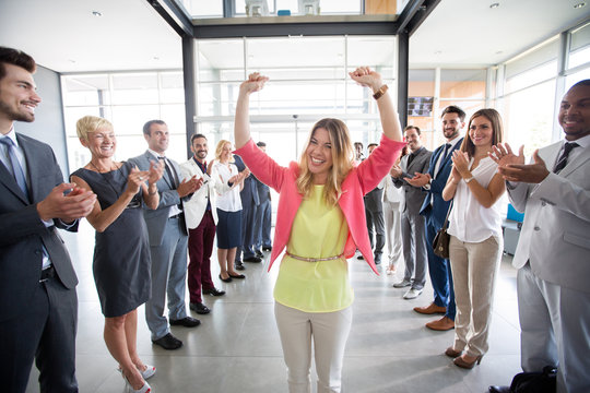 positive confident leader congratulations employer.