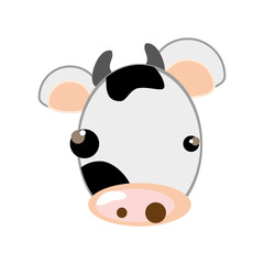 white and black cow face animal cartoon. vector illustration