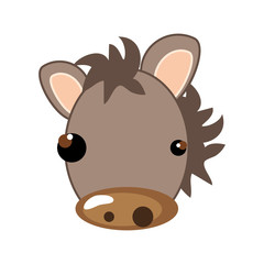 horse face with brown nose. animal cartoon. vector illustration