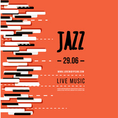 Jazz music festival, poster background template. Keyboard with music keys. Flyer Vector design