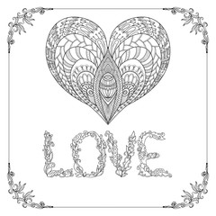 Decorative Love Heart and word Love in floral frame card. Adult coloring page.