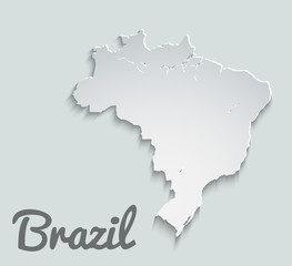 Map of Brazil. Abstract vector paper map