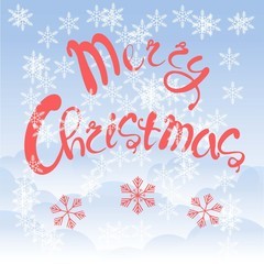 Red lettering Merry Christmas on blue sky background, white cloud, snow-flakes, vector illustration