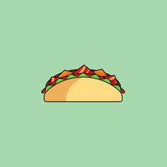 Tacos and burrito, shaurma line icon