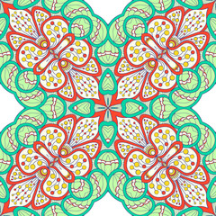 Garden Poster Moroccan Tiles Seamless pattern with Love Hearts