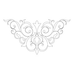 Vintage baroque frame scroll ornament. Vector.