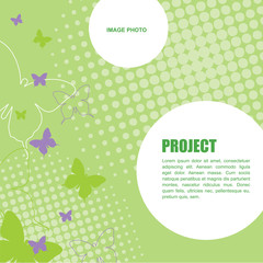 Butterflies - green background template with copy space. For presentation