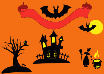 Silhouette of Halloween objects as ghost's house, tree with mushrooms and owl, witch with pot, bat (rearmouse), red ribbon for text or name on the orange background