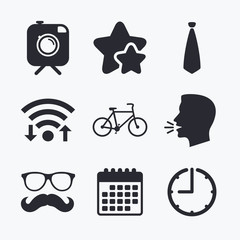 Hipster photo camera icon. Glasses symbol.
