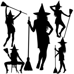 Halloween witch with broomstick silhouettes.