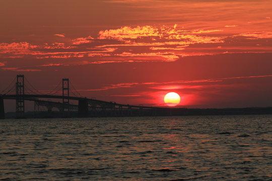 Chesapeake Bay Bridge at Sunset. Anne Arundel County, Maryland. Seen from Terrapin Beach Park