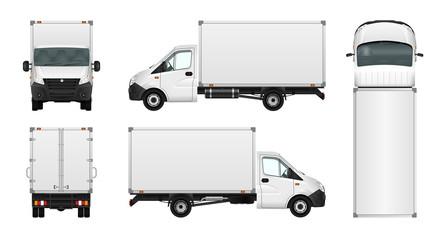 Cargo van vector illustration on white. City commercial minibus