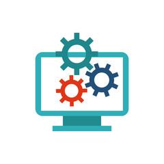 computer desktop monitor with seo icon vector illustration design