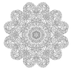 decorative mandala with Love Hearts.Outline drawing. Coloring pages for adult