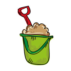 green bucket with sand and shovel. beach summer vacation. drawn design vector illustration