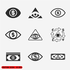 Money eye Icons set