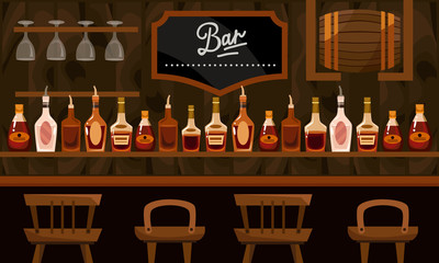 bar. interior. vector illustration.