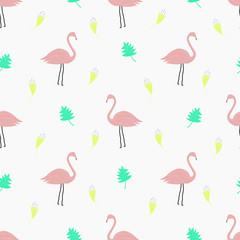 Seamless pattern with flamingo birds, flowers and leaves.