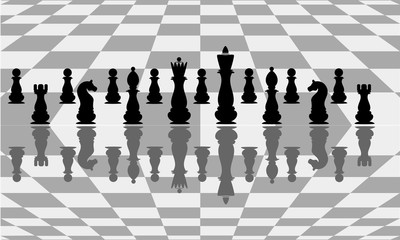 Beautiful background with chess. Abstract illustration of a chessboard. Vector