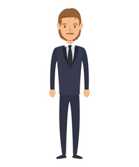 avatar business man cartoon. wearing suit and tie. vector illustration