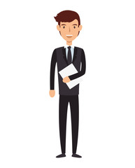 avatar man face smiling cartoon. wearing suit and tie. vector illustration