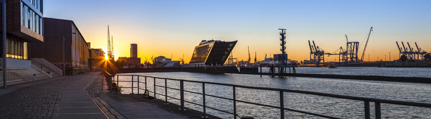 Port of Hamburg, Panoramaview in the early Morning Sun, Office Buildings at the Riverside of the Elbe