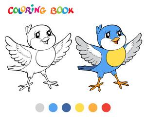 Coloring book wiht blue bird. Vector illustration.