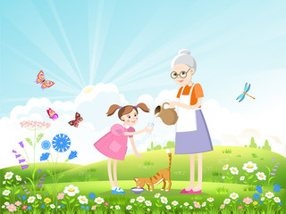 Girl, grandmother and cat drinking milk on a beautiful summer landscape with butterflies and dragonflies. Vector illustration.