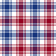 Red blue white check plaid texture seamless pattern