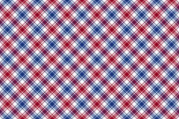 Red blue white diagonal check texture seamless pattern backgroun