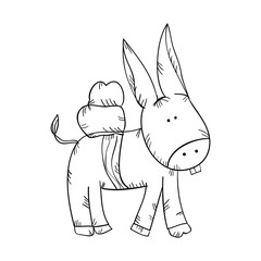 donkey animal. front view. drawn design vector illustration
