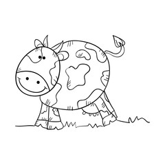 cow animal smiling face. front view. drawn design vector illustration
