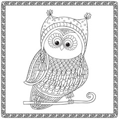 Coloring book for adult and older children. Coloring page with owl in decorative frame