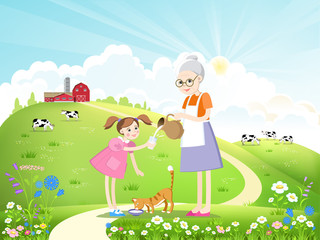 Dairy farm and a herd of cows on a beautiful summer landscape. Girl, grandmother and cat drinking milk. Vector illustration.